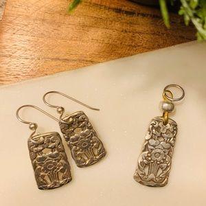 Made from vintage silverware Pendant & Earrings